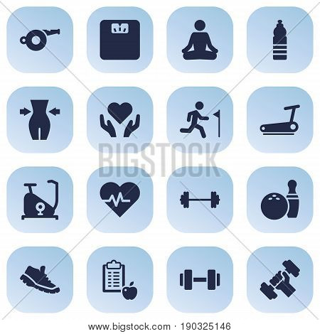 Set Of 16 Fitness Icons Set.Collection Of Body Balance , Heart In Hand, Bodybuilding Elements.