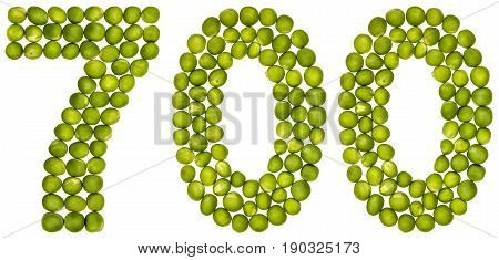 Arabic Numeral 700, Seven Hundred, From Green Peas, Isolated On White Background