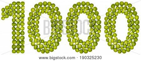 Arabic Numeral 1000, One Thousand, From Green Peas, Isolated On White Background
