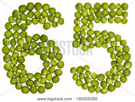 Arabic Numeral 65, Sixty Five, From Green Peas, Isolated On White Background