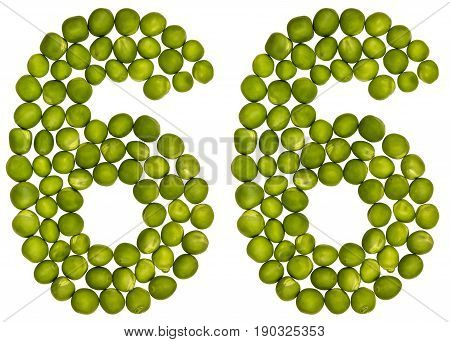 Arabic Numeral 66, Sixty Six, From Green Peas, Isolated On White Background