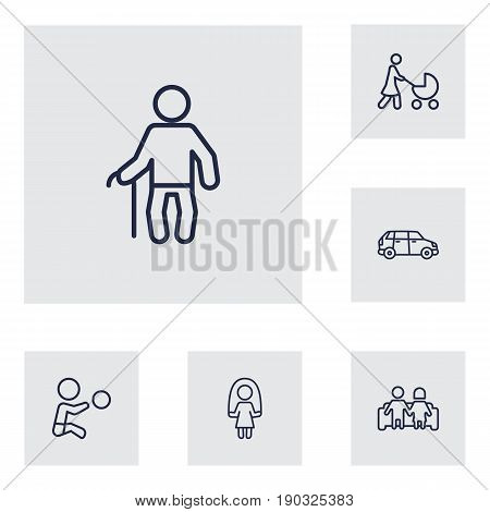 Set Of 6 Relatives Outline Icons Set.Collection Of Couple, Skipping Rope, Car And Other Elements.