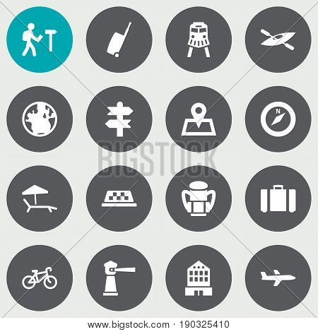 Set Of 16 Relax Icons Set.Collection Of Aircraft, Planet, Seamark And Other Elements.