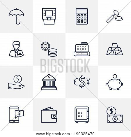 Set Of 16 Budget Outline Icons Set.Collection Of Coins, Protect, Cash Register And Other Elements.