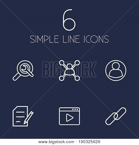 Set Of 6 Search Outline Icons Set.Collection Of Guest, Blogging, Url And Other Elements.