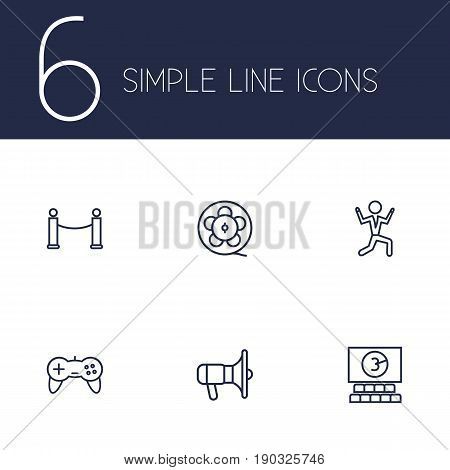 Set Of 6 Entertainment Outline Icons Set.Collection Of Film Role, Bullhorn, Game Controller And Other Elements.