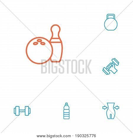 Set Of 6 Bodybuilding Outline Icons Set.Collection Of Dumbbell, Water Bottle, Workout And Other Elements.