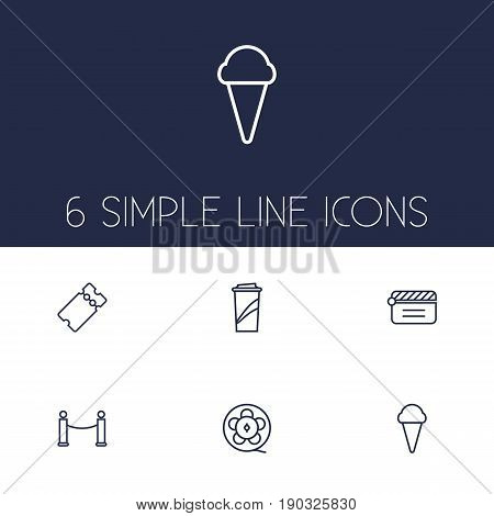 Set Of 6 Amusement Outline Icons Set.Collection Of Film Role, Clapperboard, Barrier Rope And Other Elements.