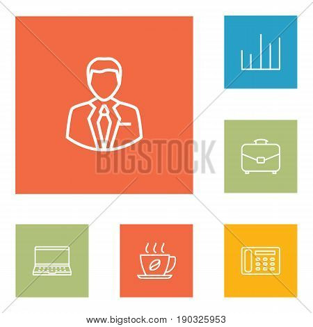 Set Of 6 Bureau Outline Icons Set.Collection Of Contacts, Notebook, Administrator And Other Elements.