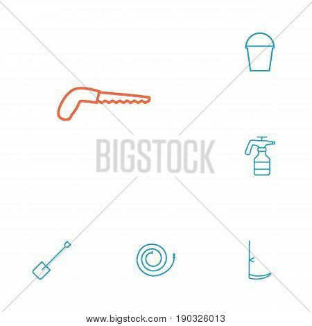 Set Of 6 Household Outline Icons Set.Collection Of Firehose, Pail, Arm-Cutter And Other Elements.