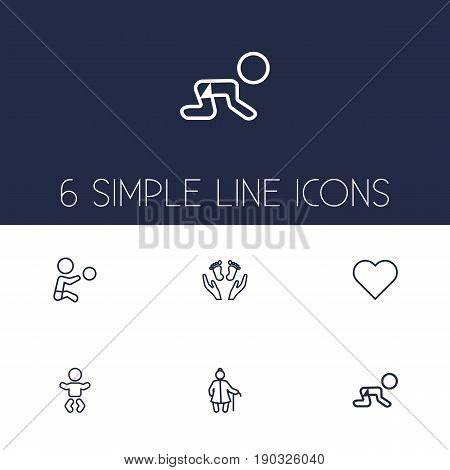 Set Of 6 Family Outline Icons Set.Collection Of Grangmother, Crawling Kid, Soul And Other Elements.