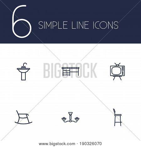 Set Of 6 Set Outline Icons Set.Collection Of Desk, Chandelier, Washbasin Elements.