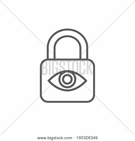 Privacy mode icon with security feature - a lock