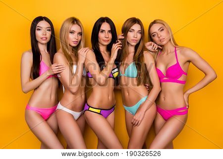 Summer, Holiday, Beach, Pool, Togetherness, Joy Time. Seductive Five Young Ladies In Swim Wear Are P