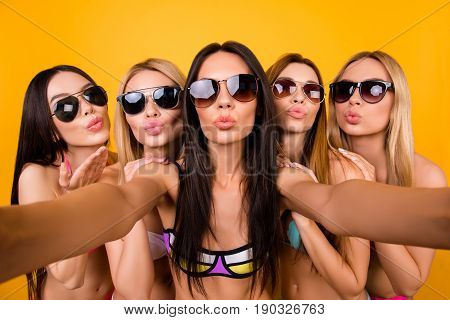 Selfie Time, Girls! Five Girlfriends In Fashionable Different Swim Suits And Sunglasses Are Posing F