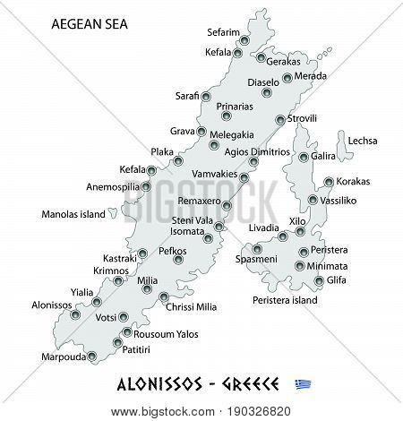 Island Of Alonissos In Greece White Map Illustration