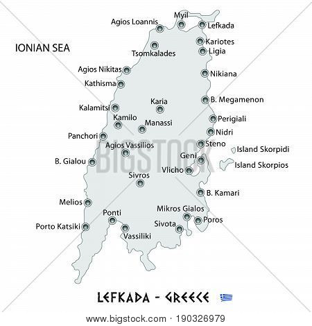 Island Of Lefkada In Greece White Map Illustration