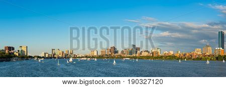 Boston Massachusettes Back Bay Distric with dark clouds behind