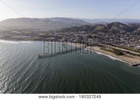 Ventura Pier and Pacific Ocean aerial view in Southern California.