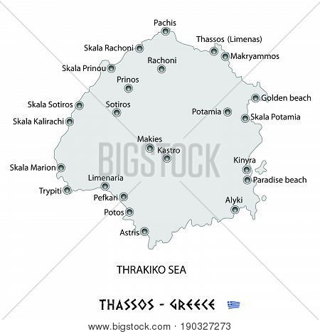 Island Of Thassos In Greece White Map Illustration