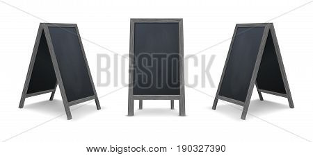 Realistic special menu announcement board icon set. Vector clean restaurant outdoor blackboard background. Mockup of chalkboard for restaurant menu, isolated on white background. Design template in front and side view. EPS10 illustration.
