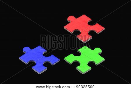 puzzle and jigsaw business concept, RGB path on black
