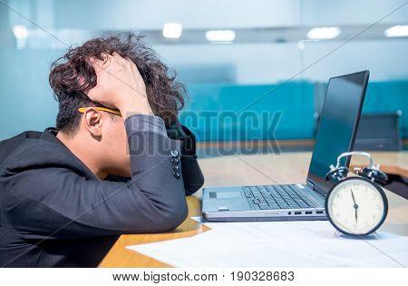 busy and headache person unsuccessful businessman deadline