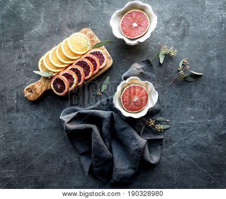 Pink Grapefruit halves with blood orange slices
