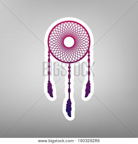 Dream catcher sign. Vector. Purple gradient icon on white paper at gray background.