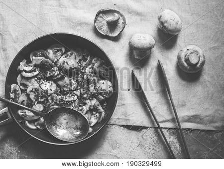 Sauteed mushroom in a pan ready to serve