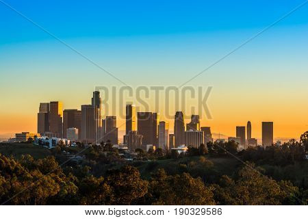 View of Downtown Los Angeles from Elysian Park at sunset