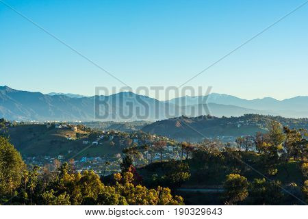 View of the San Gabriel Mountains from Elysian Park