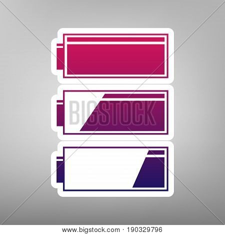 Set of battery charge level indicators. Vector. Purple gradient icon on white paper at gray background.
