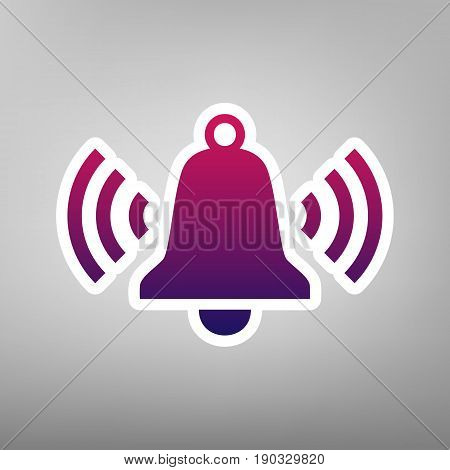Ringing bell icon. Vector. Purple gradient icon on white paper at gray background.
