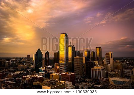 Golden hour aerial view of Downtown Dallas