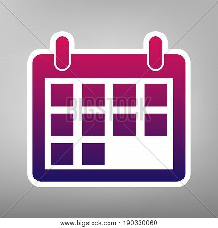 Calendar sign illustration. Vector. Purple gradient icon on white paper at gray background.