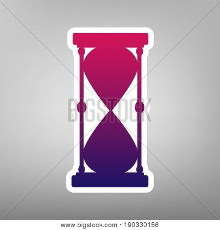 Hourglass sign illustration. Vector. Purple gradient icon on white paper at gray background.