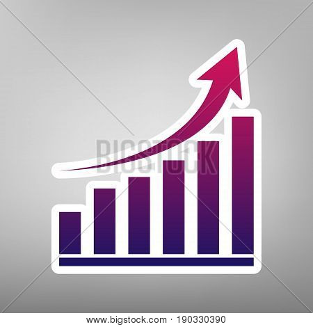 Growing graph sign. Vector. Purple gradient icon on white paper at gray background.