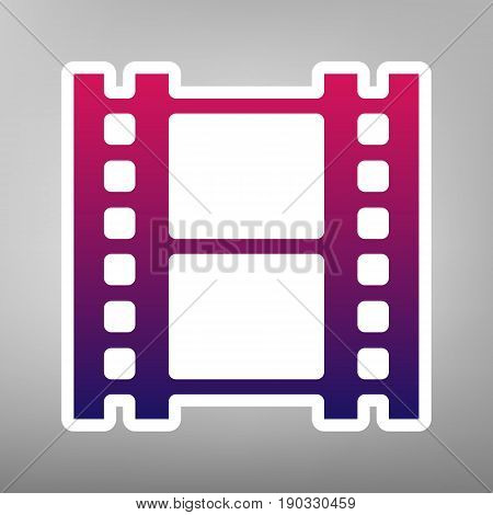 Reel of film sign. Vector. Purple gradient icon on white paper at gray background.