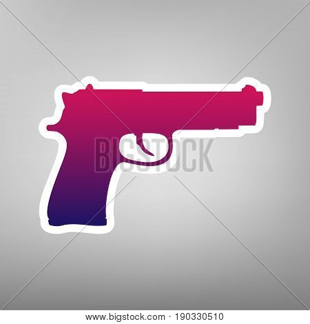 Gun sign illustration. Vector. Purple gradient icon on white paper at gray background.