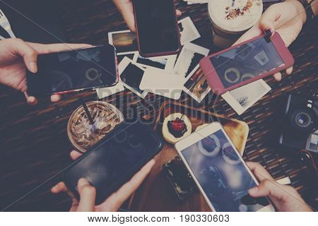 People Hands Holding Mobile Snapping Dessert Photo