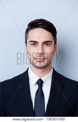 Close Up Cropped Photo Of A Stylish Young Brunete Lawyer Bearded Man, Standing On Pure Background. H