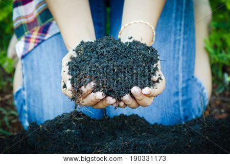 Holding soil and sprout protection in hand. Concept earth day 5 June