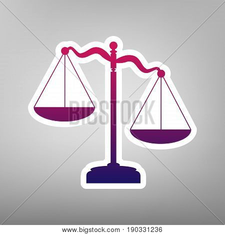 Scales of Justice sign. Vector. Purple gradient icon on white paper at gray background.