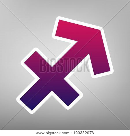 Sagittarius sign illustration. Vector. Purple gradient icon on white paper at gray background.