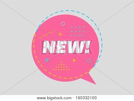 Trendy Sale Geometric Vector Bubble. New Tag Business Label Promo Badge. Flat Shape Comic Style. Bright Retro Background with Memphis Style Pattern for Sale Promo Marketing.