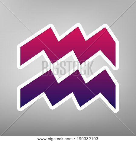 Aquarius sign illustration. Vector. Purple gradient icon on white paper at gray background.