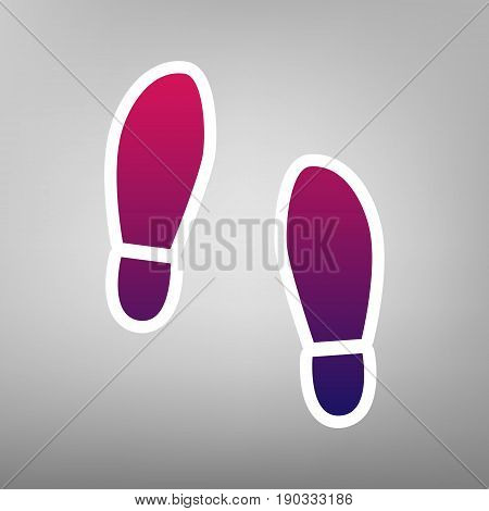 Imprint soles shoes sign. Vector. Purple gradient icon on white paper at gray background.