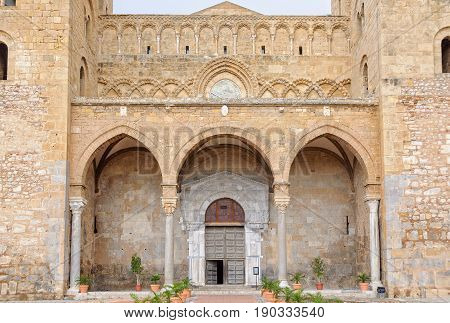 The 15th-century portico of the Cathedral-Basilica has three arches - Cefalu Sicily Italy