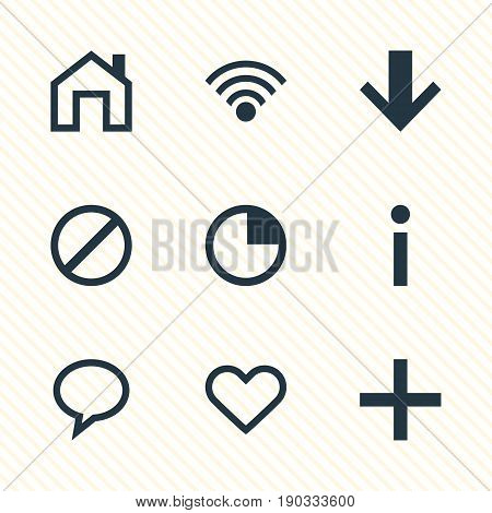 Vector Illustration Of 9 Interface Icons. Editable Pack Of Mainpage, Cordless Connection, Info And Other Elements.